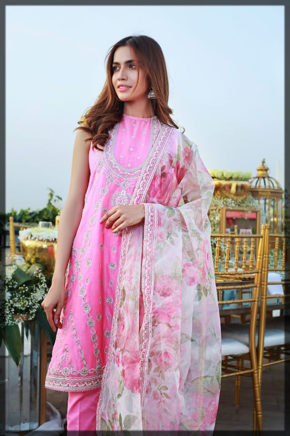 embroidered pink and white lawn dress