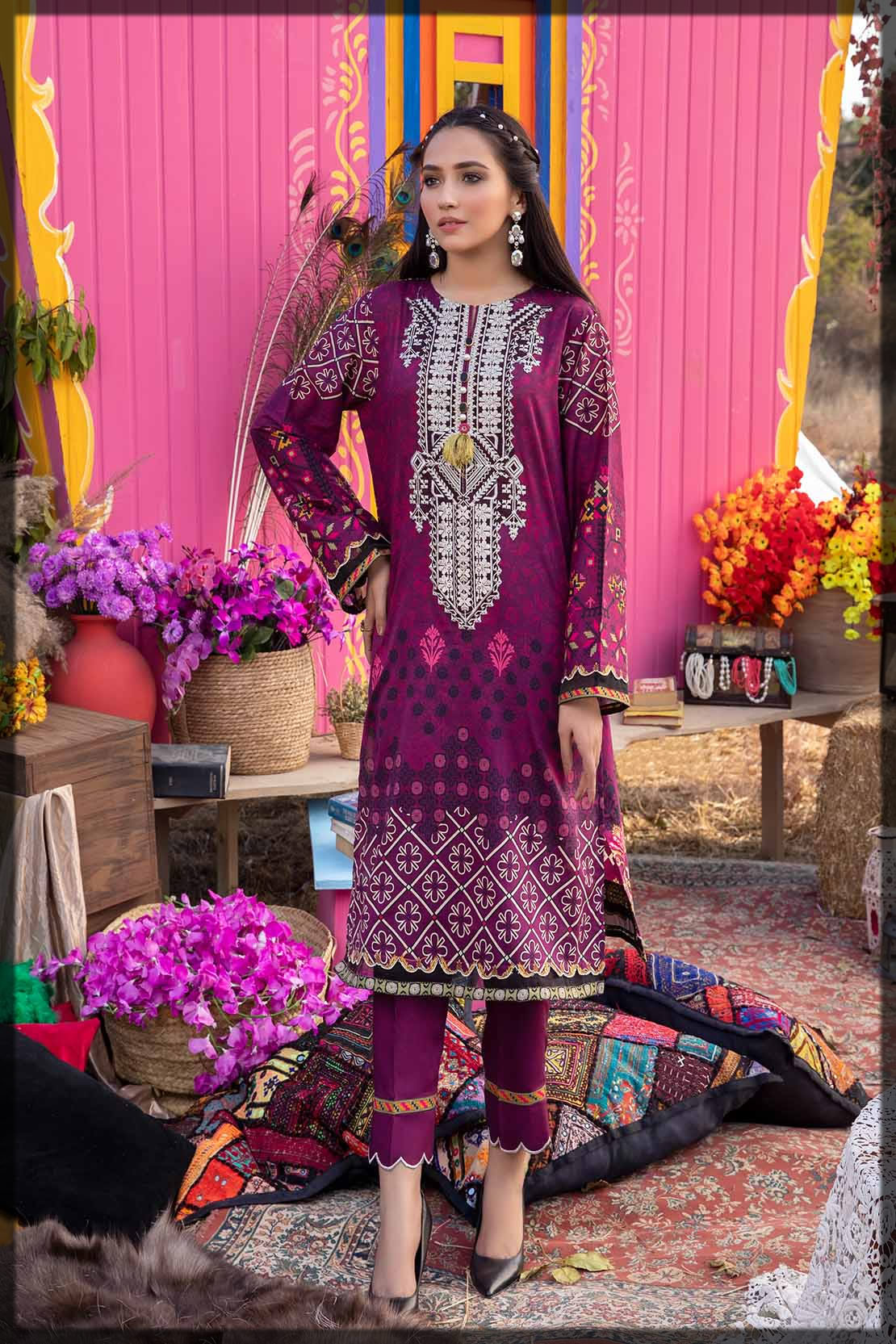 embroidered purple lawn suit