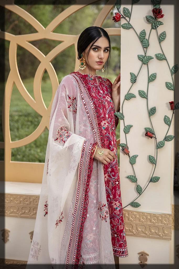 embroidered shocking pink eid dress
