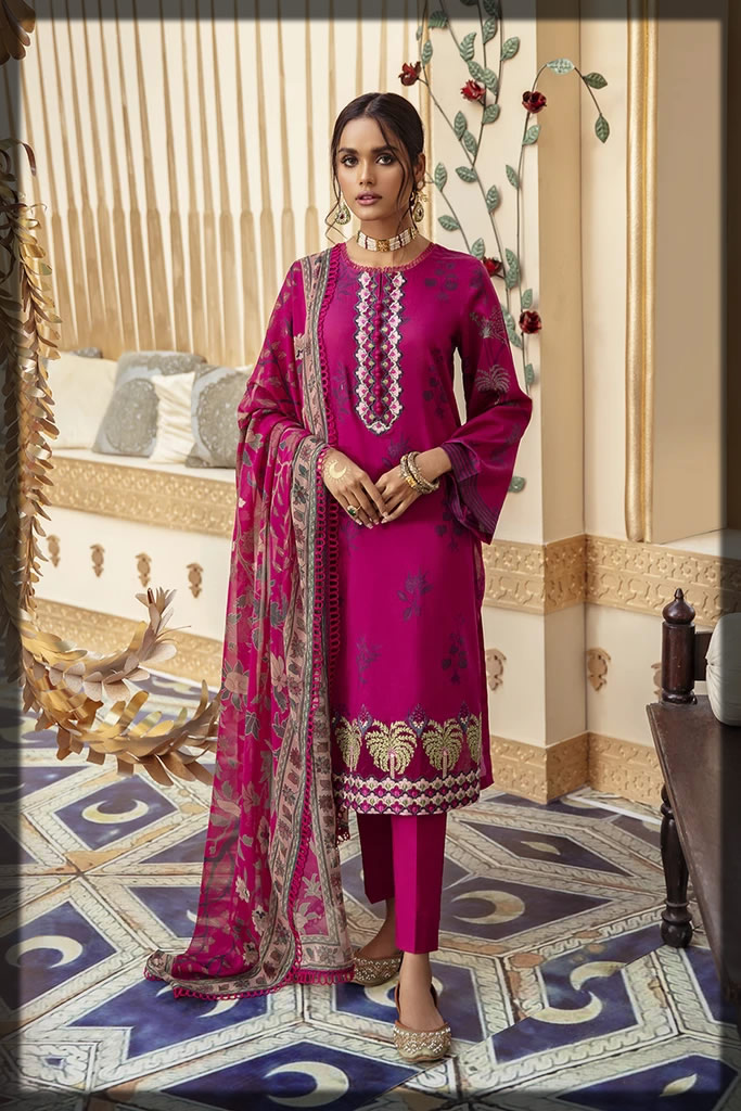 embroidered shocking pink lawn suit