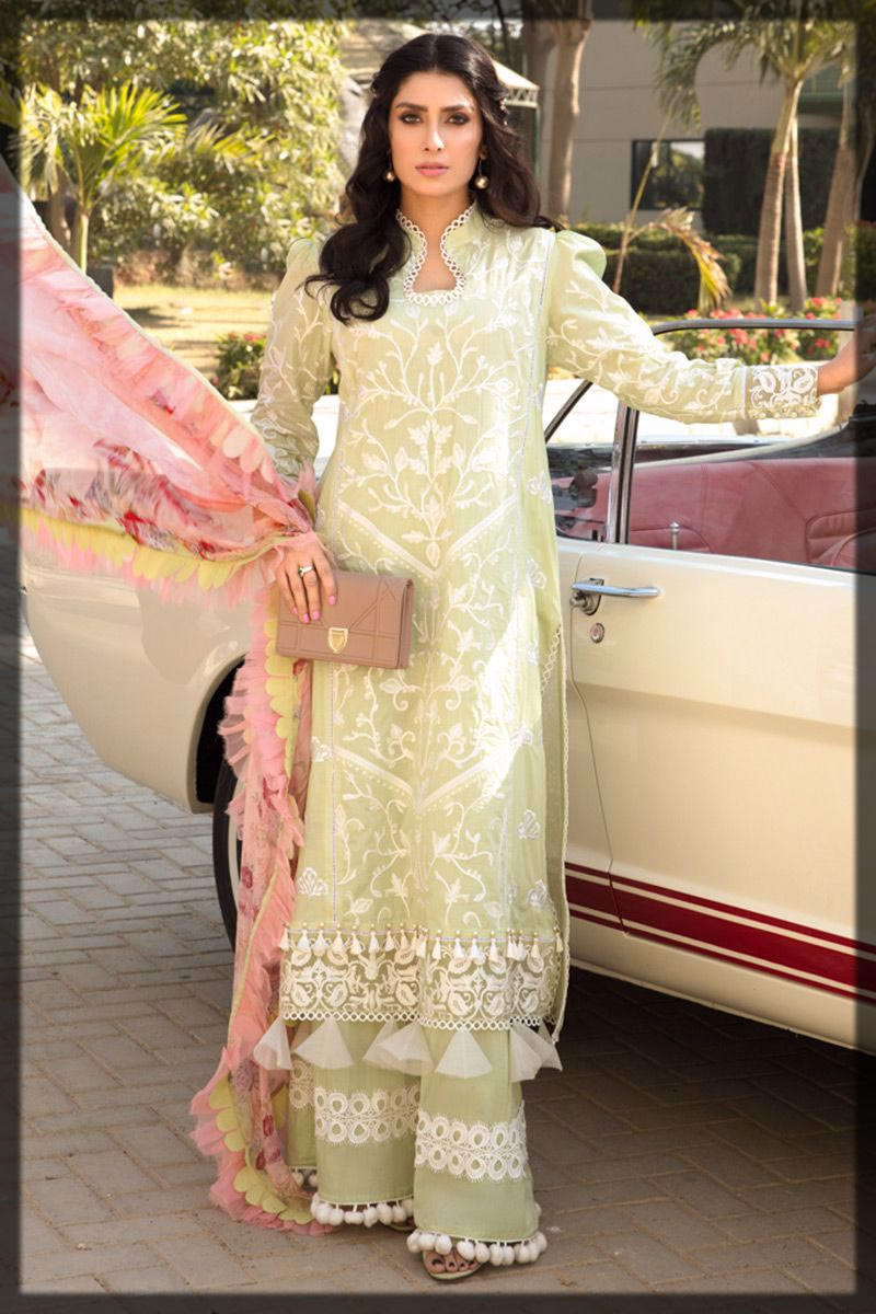 embroidered soft mint lawn suit