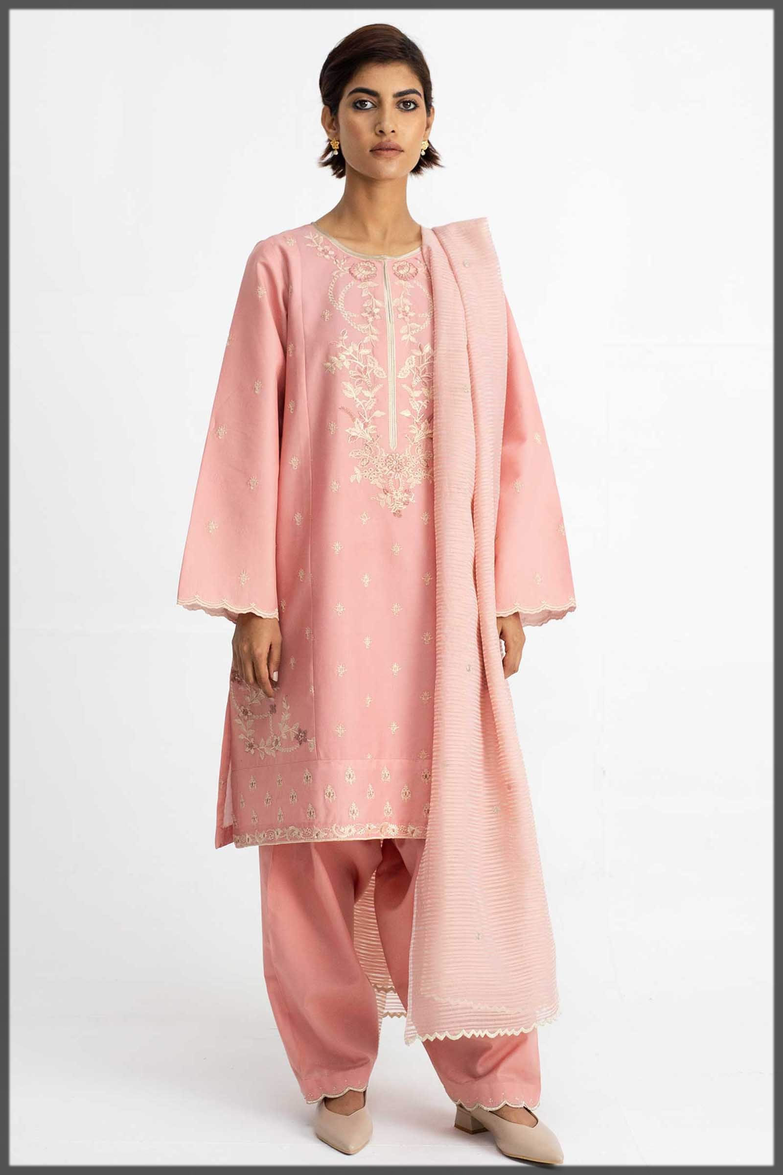 embroidered tea pink eid outfit