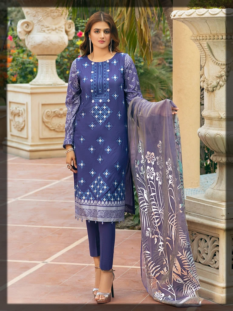 ethnic lavender embroidered lawn dress