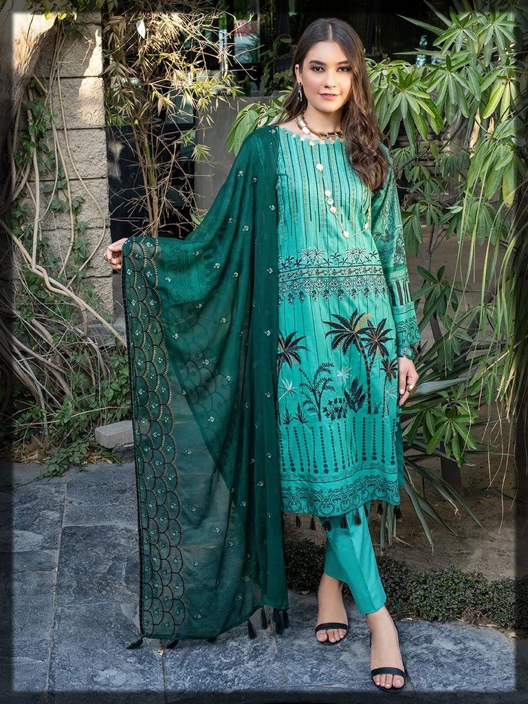 forest green embroidered lawn suit