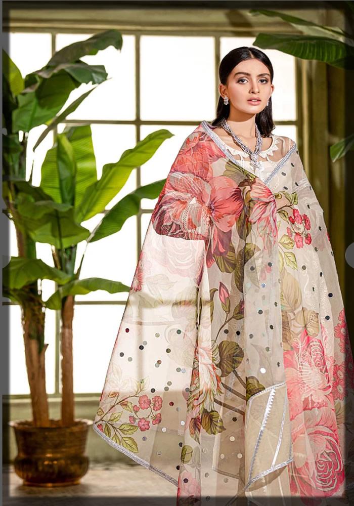 graceful beige embroidered organza dress