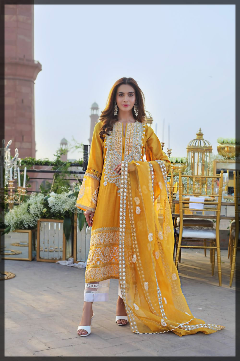 graceful yellow embroidered dress