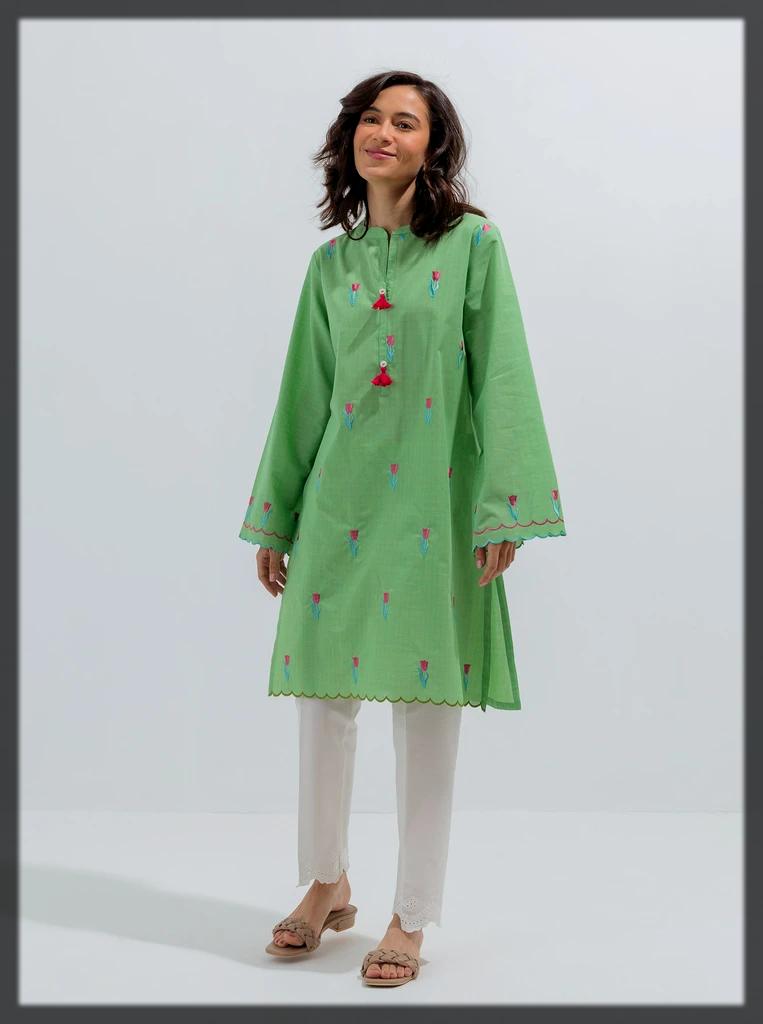 green shaded eid dress by beechtree