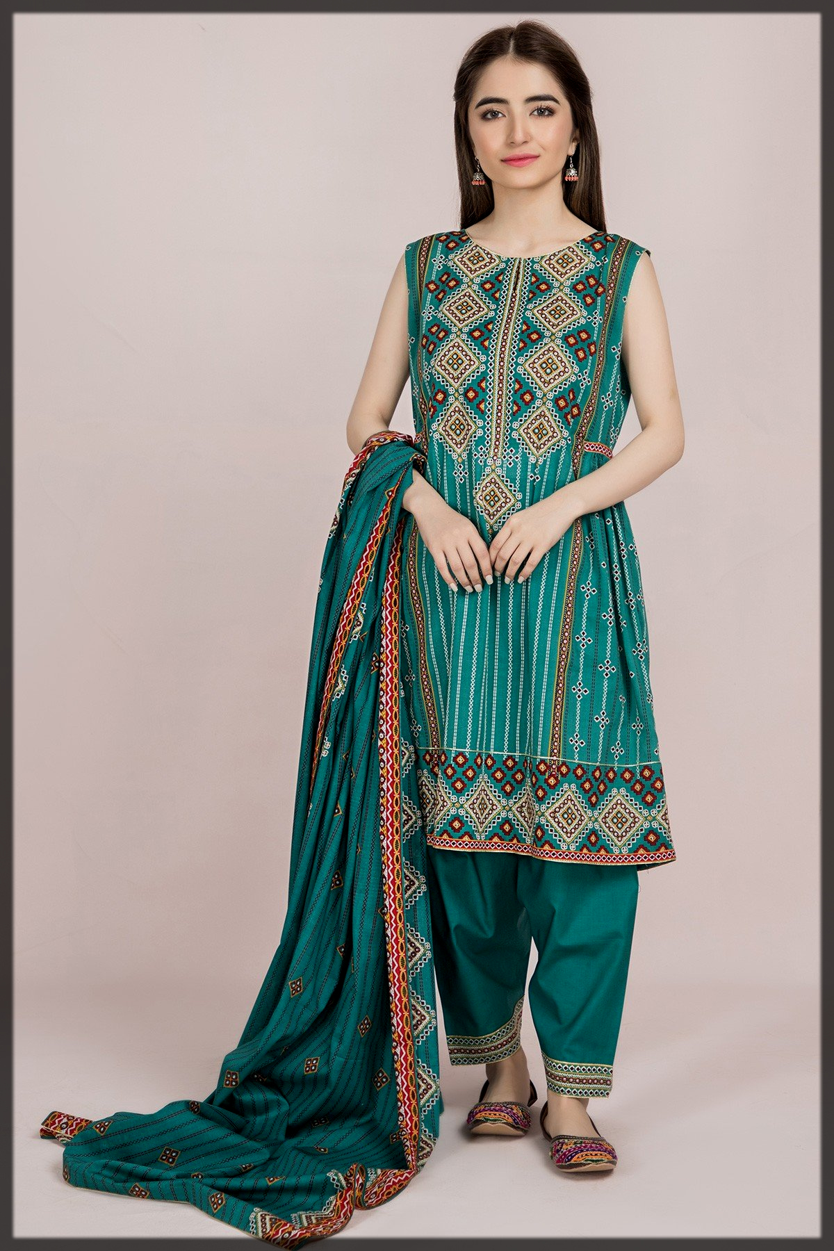 green shaded eid dress by kayseria