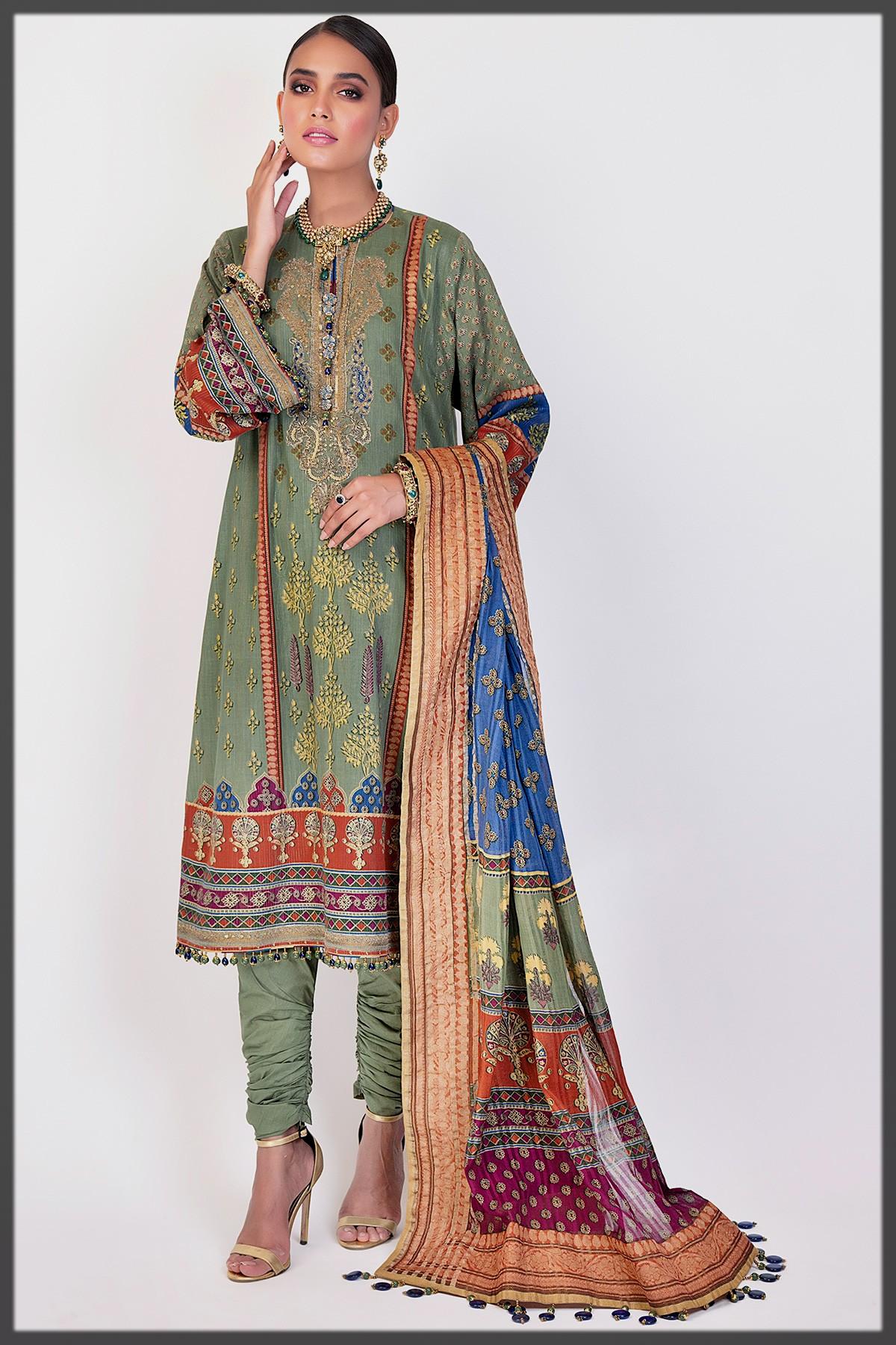 green shaded summer attire for eid ul adha