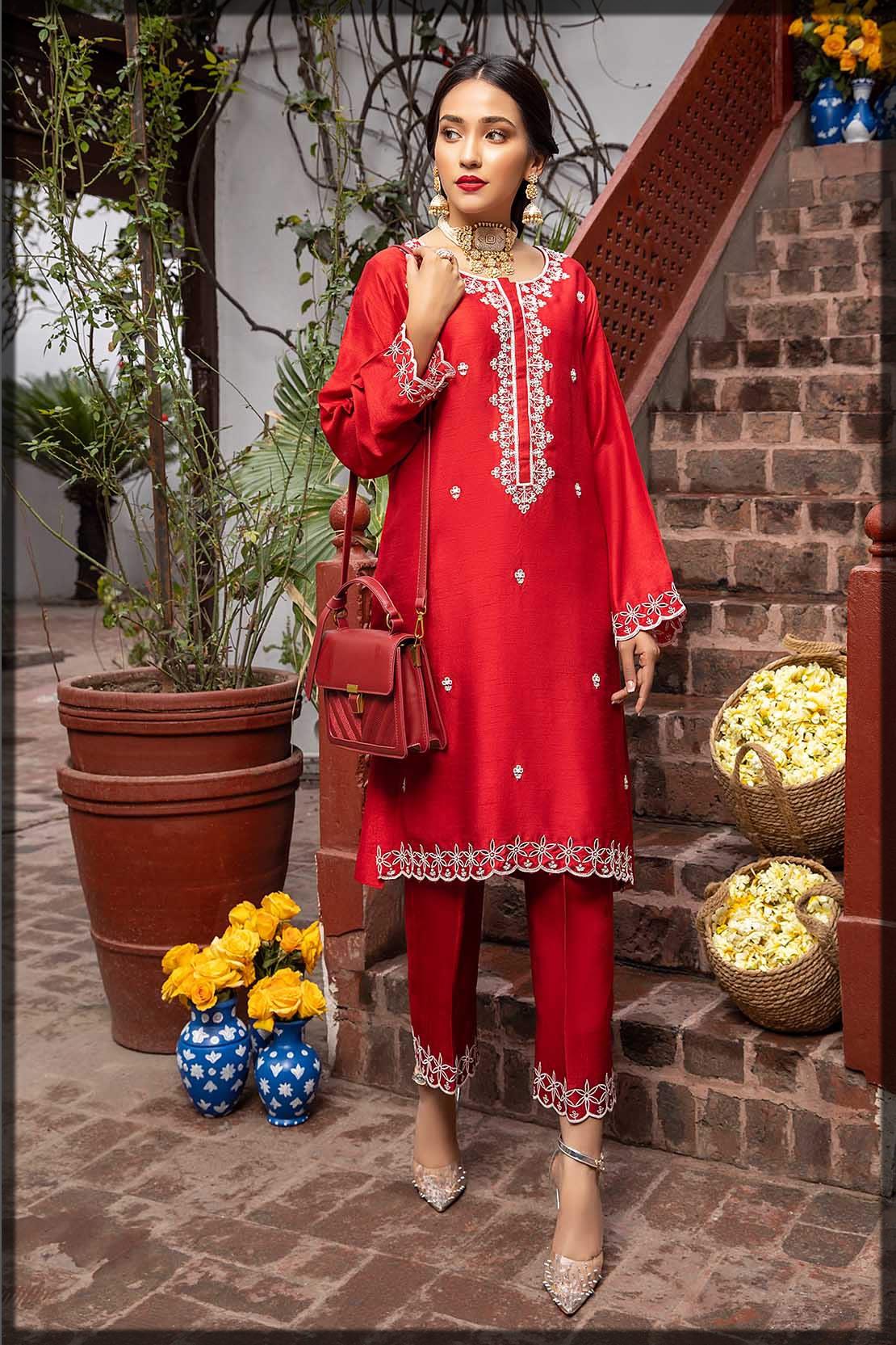 haute red raw silk shirt