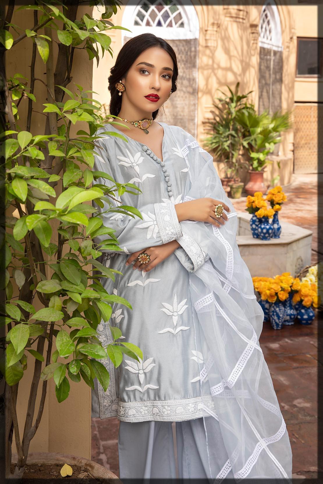 ice blue khaadi net dress