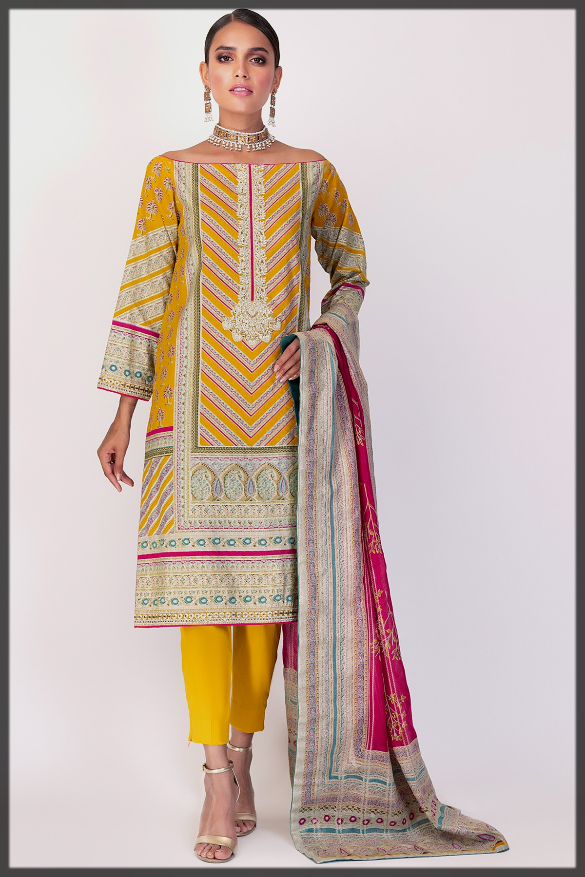 impressive yellow summer lawn suit for eid
