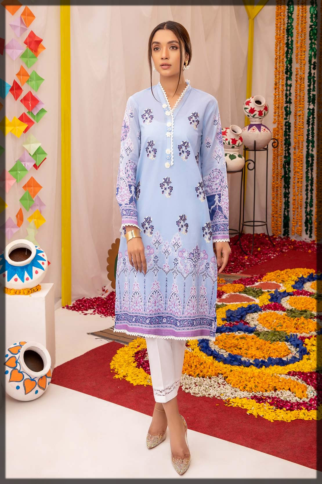 light blue embroidered lawn shirt