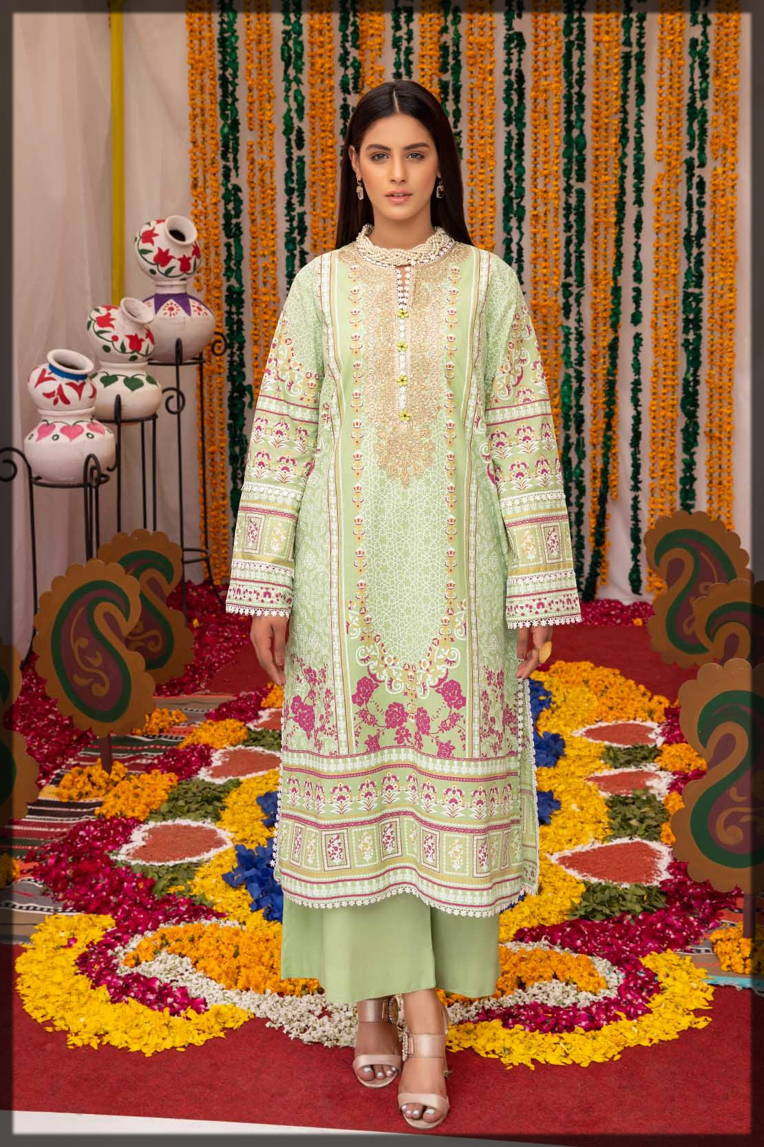 light green embroidered lawn shirt