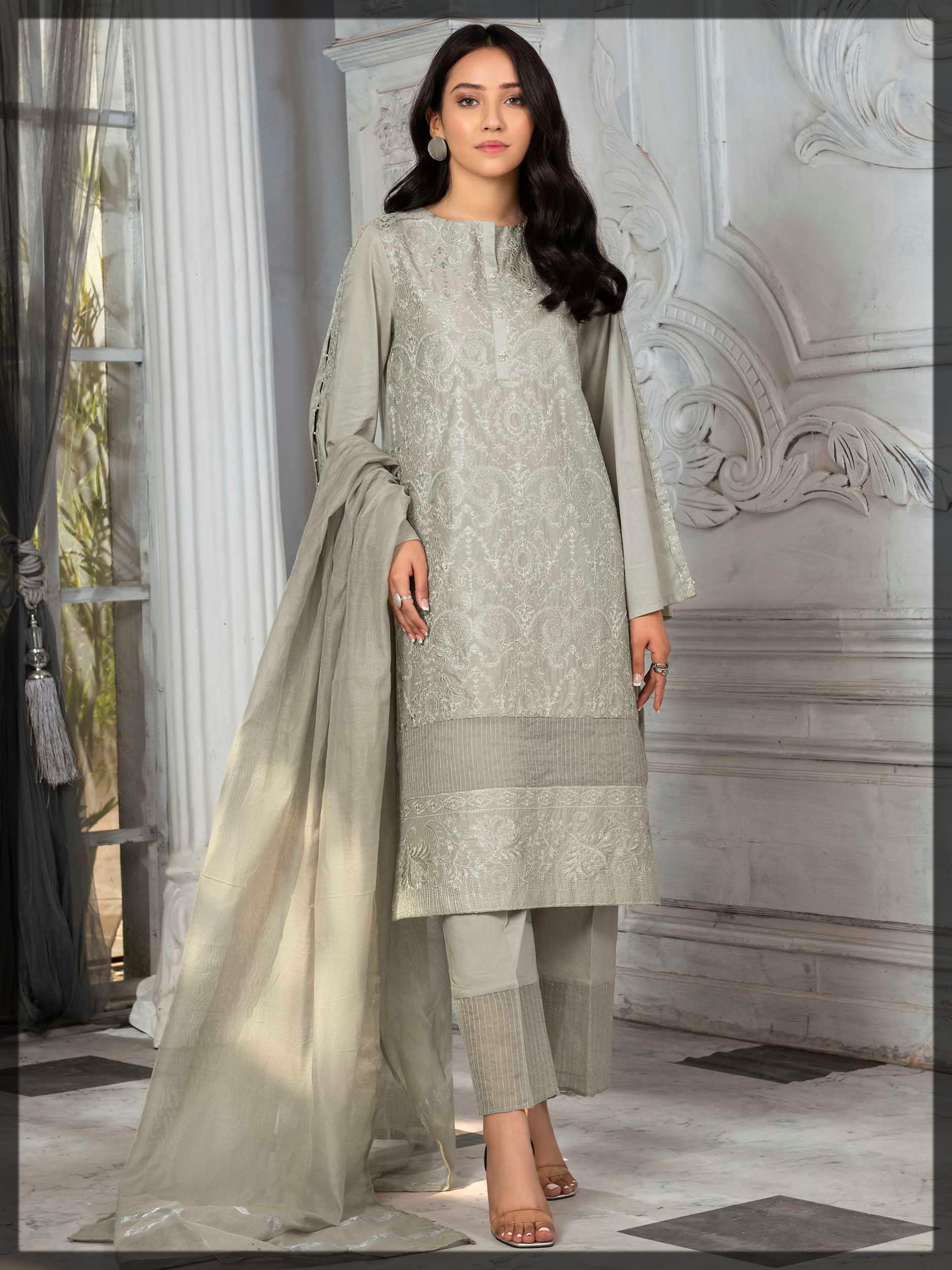 light grey embroidered suit