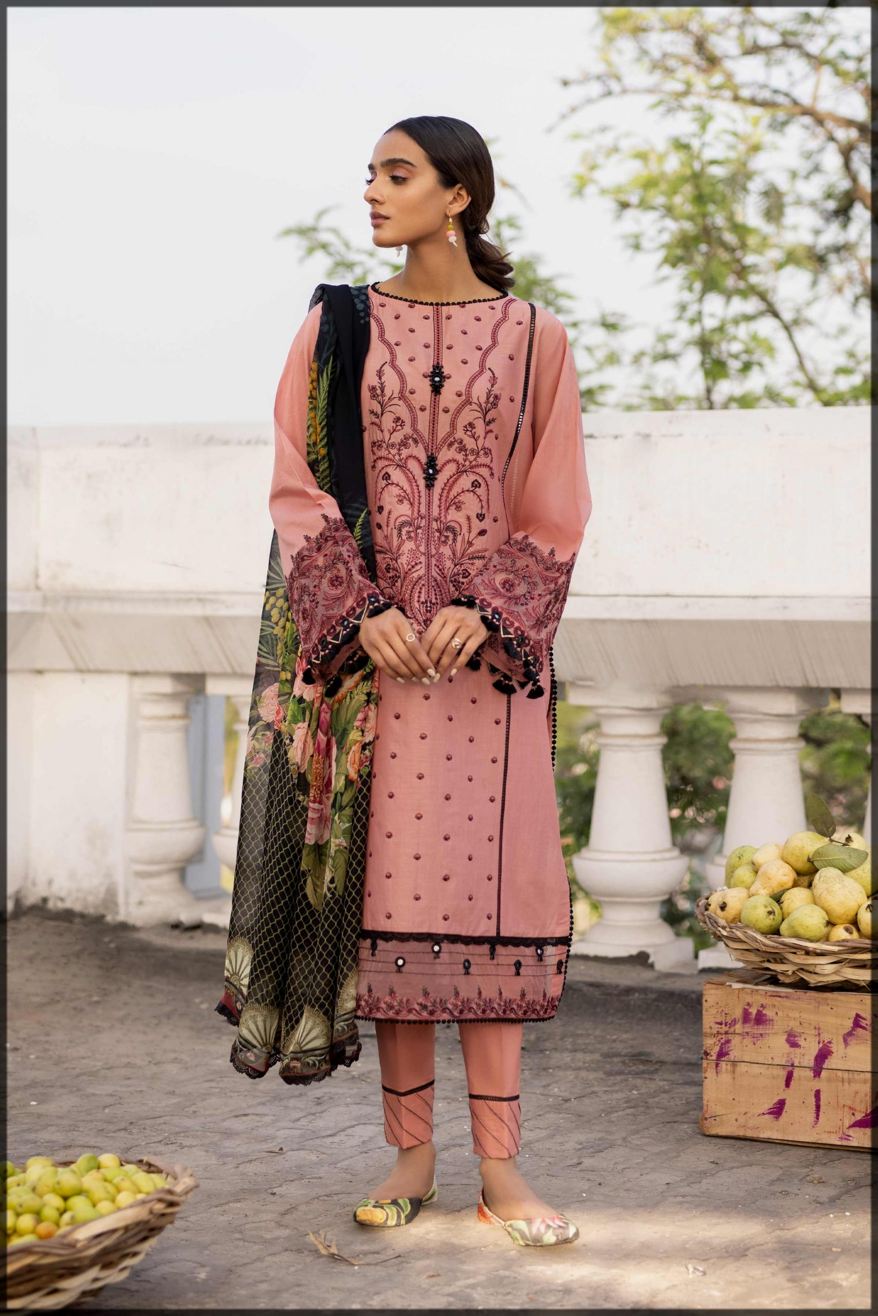 lovely peach dress for eid