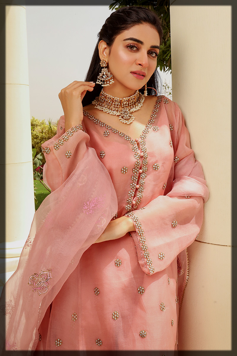 lovely pink eid suit for teens