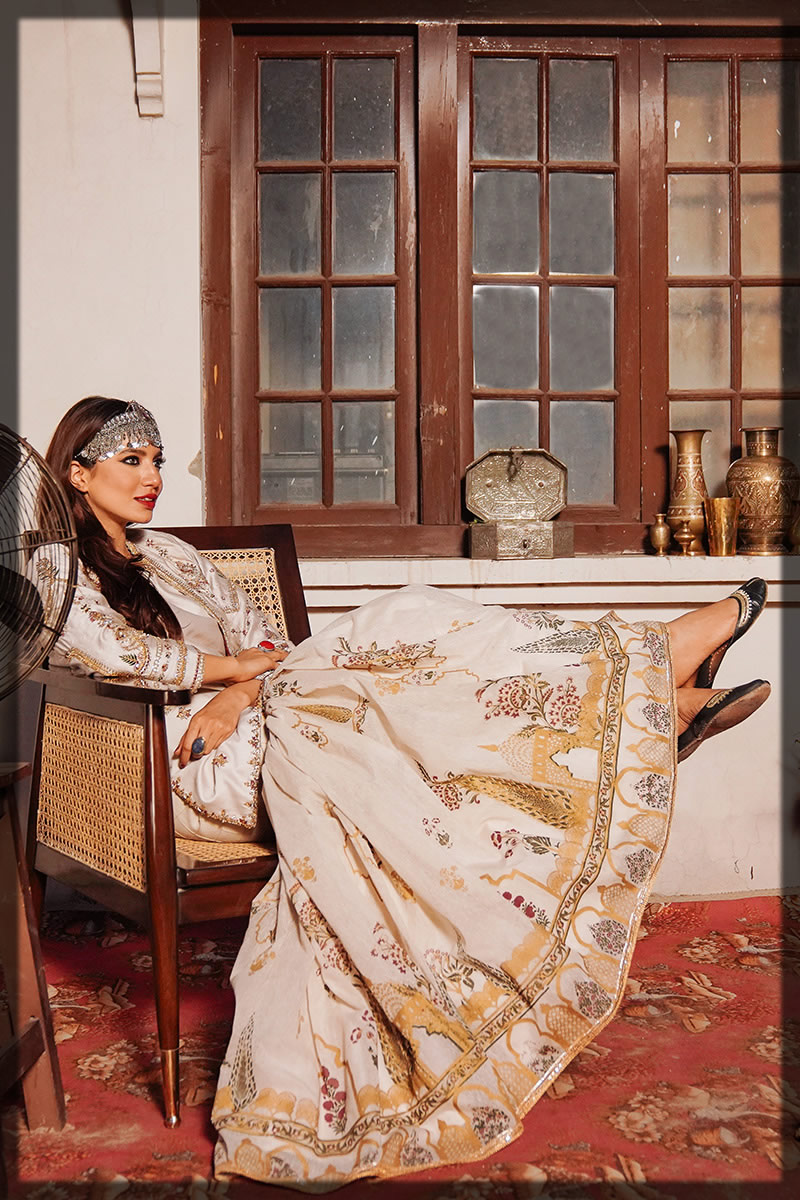 luxury off-white gharara dress
