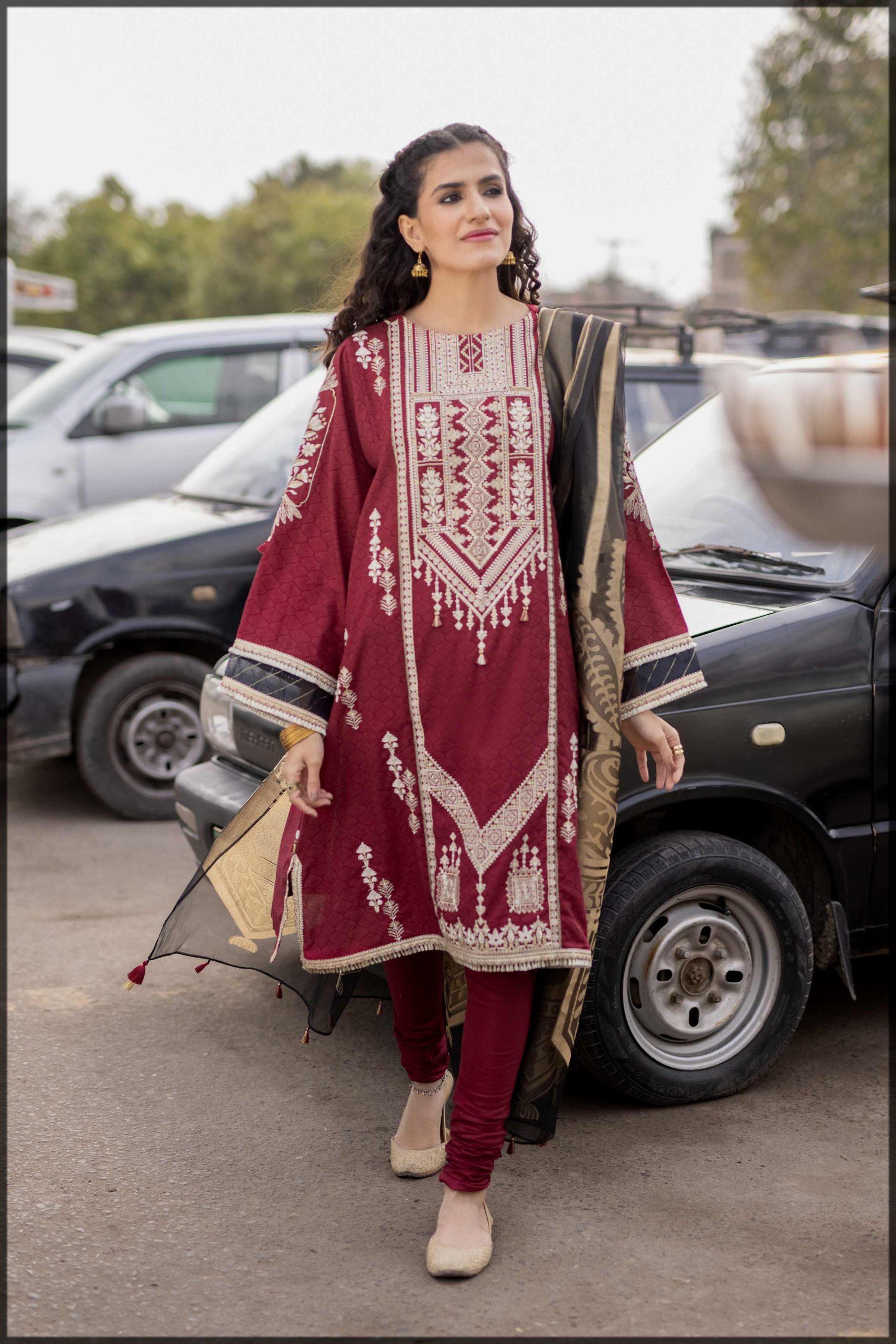 maroon and white summer eid dress