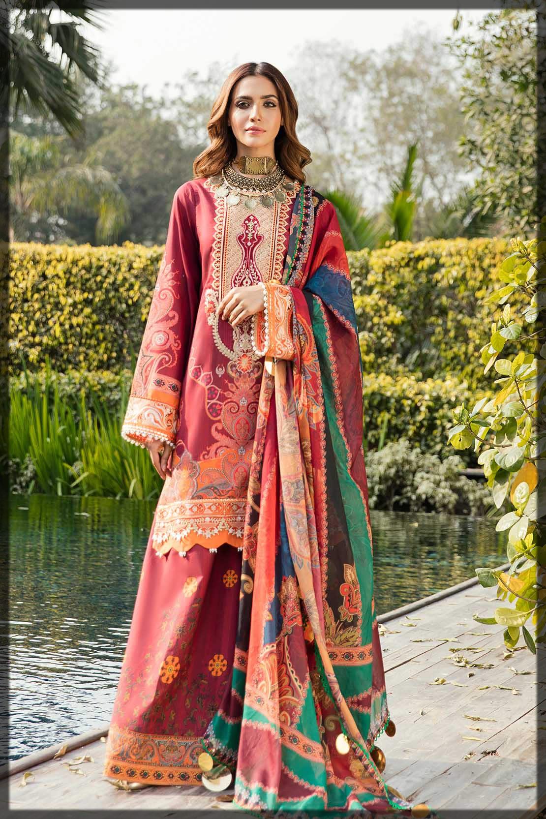 maroon embroidered eid suit