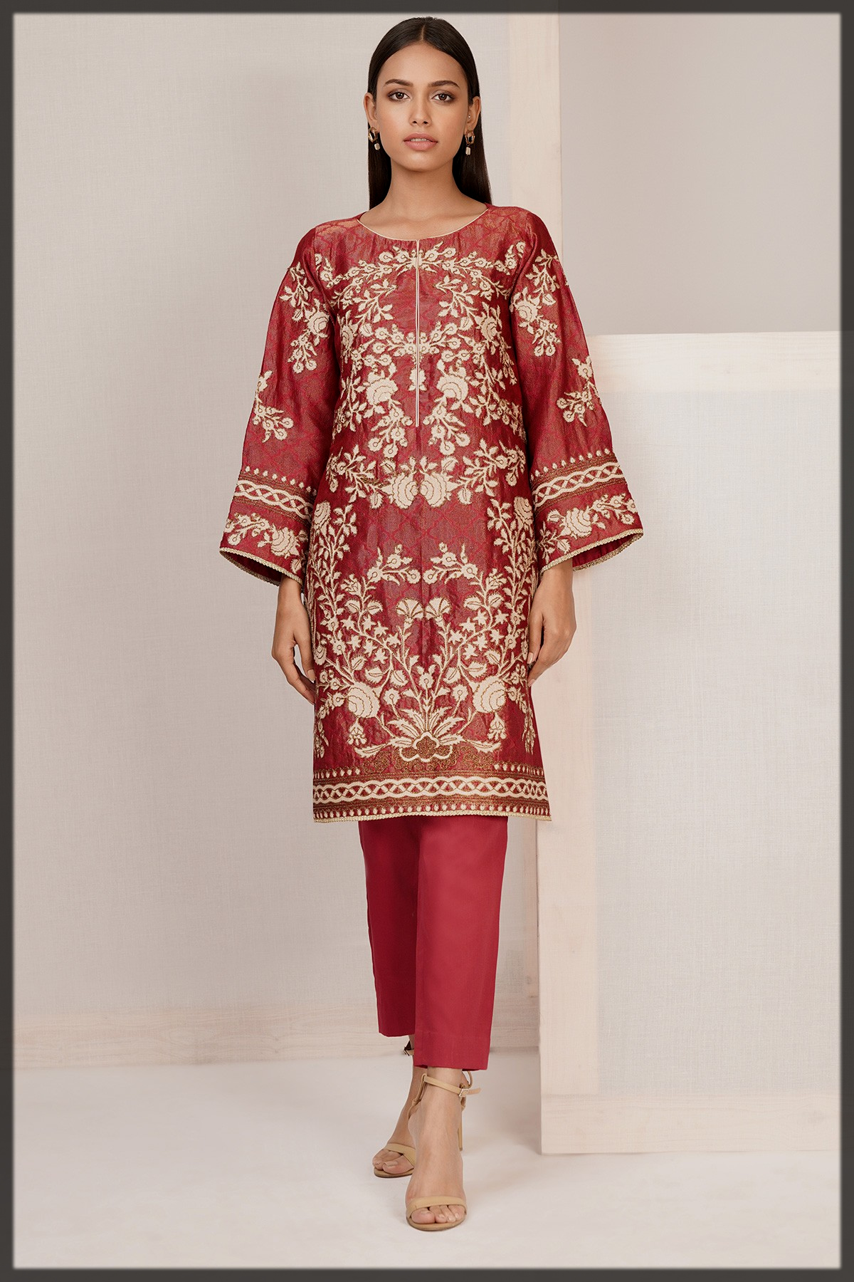 maroon shaded eid dress