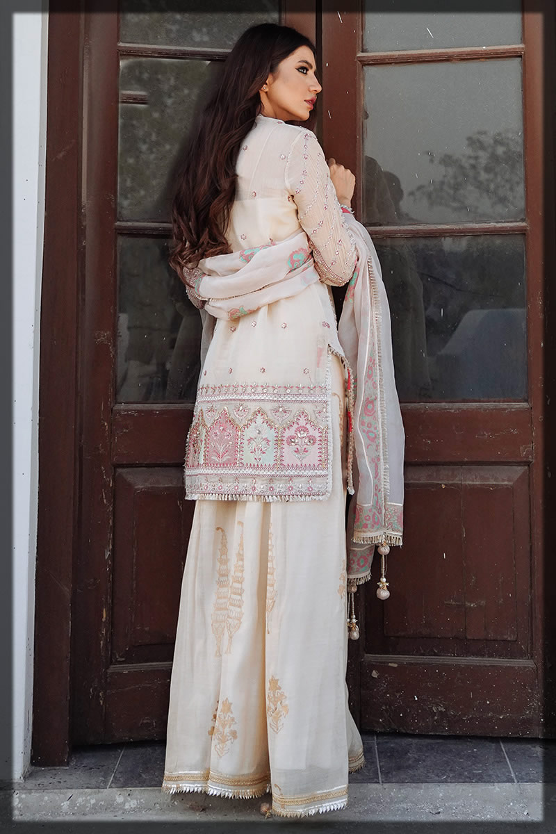 maysuri embroidered beige outfit for eid