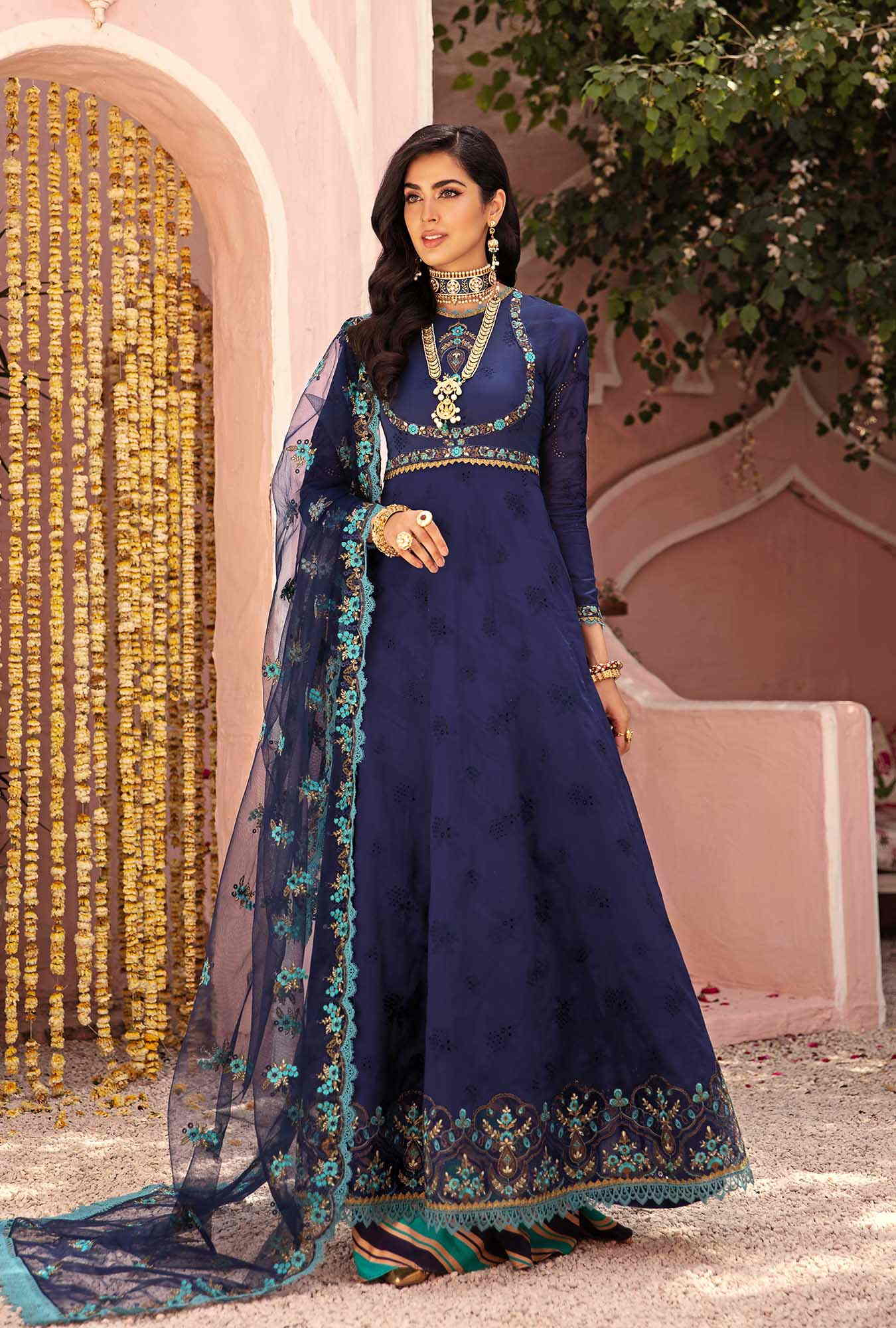 navy blue chikan kari suit