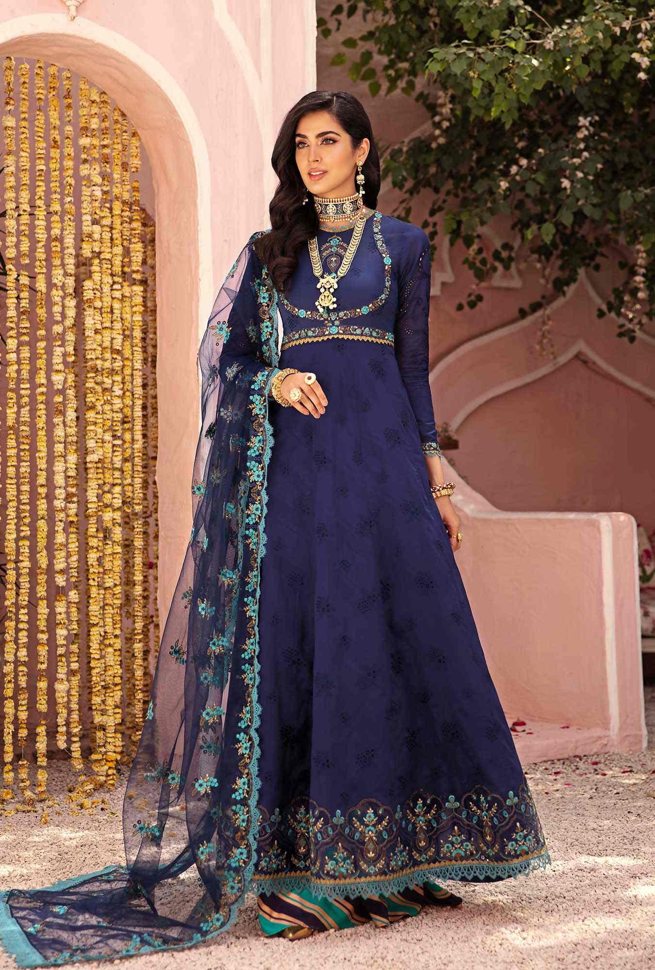 navy blue chikan kari suit