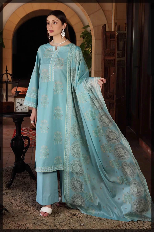 nishat linen blue eid dress