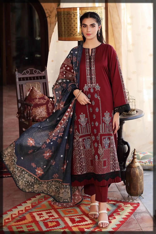 nishatlinen maroon eid dresses