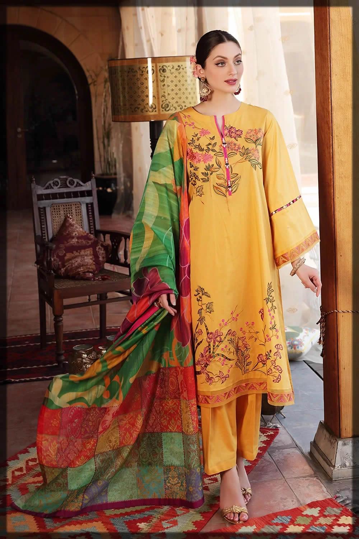 nishatlinen yellow eid dresses