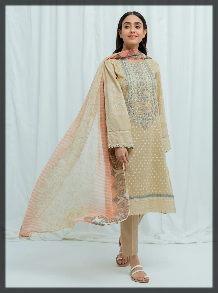 nude shaded summer lawn suit for eid by beechtree