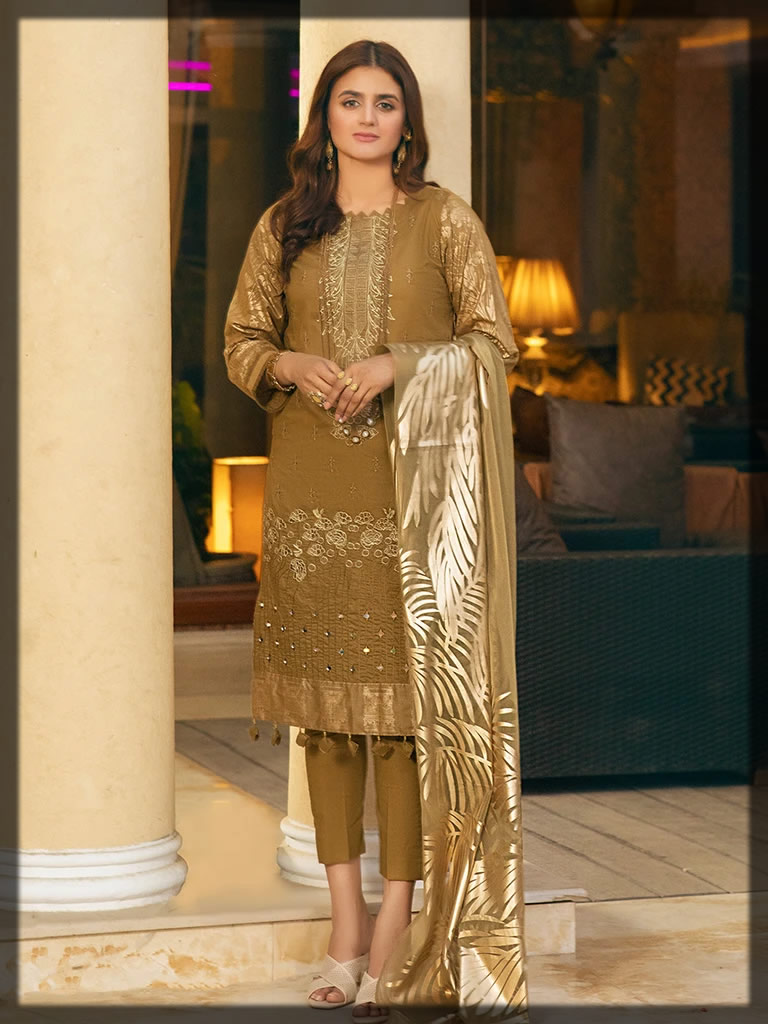 olive green embroidered lawn suit
