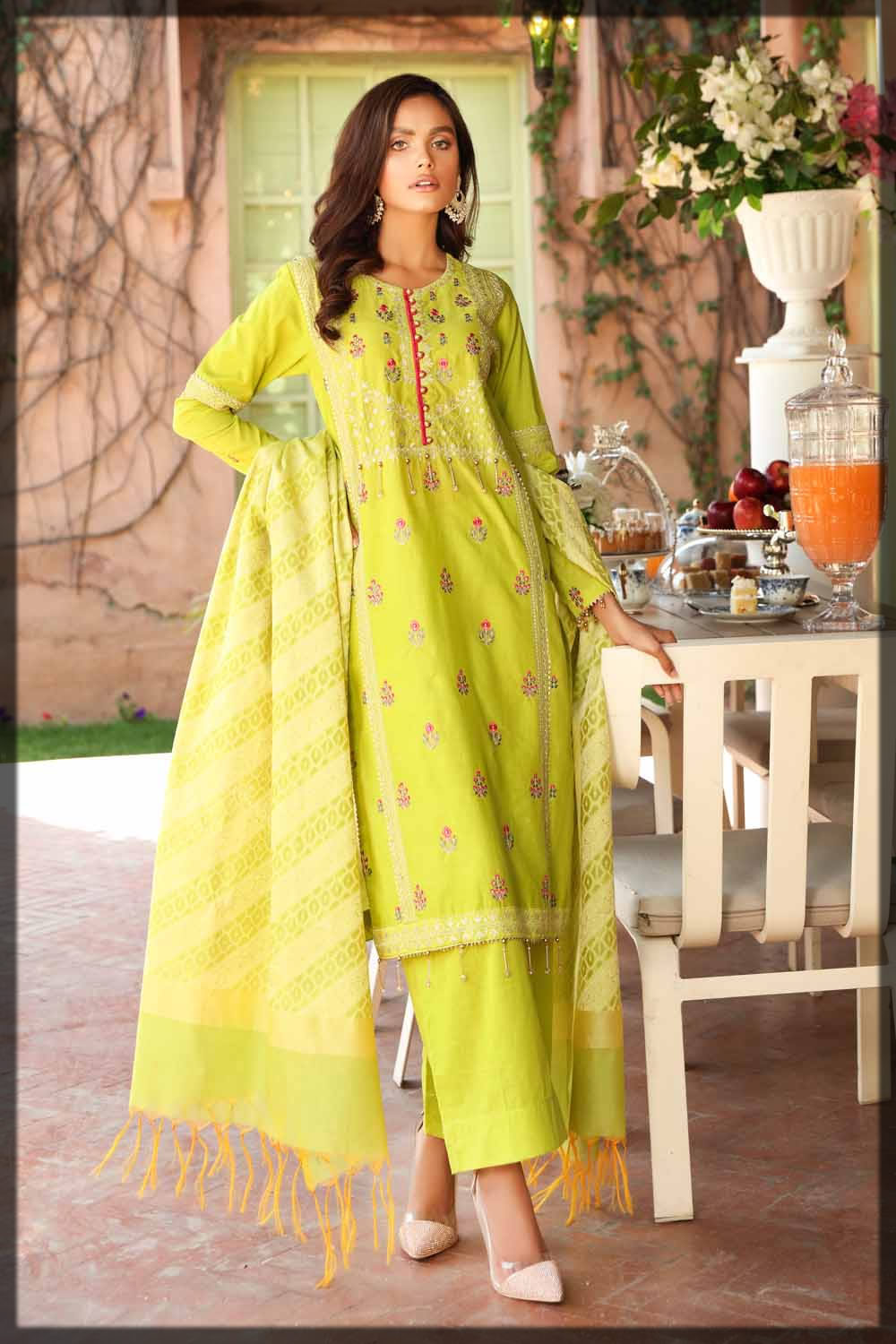 parrot green embroidered lawn suit