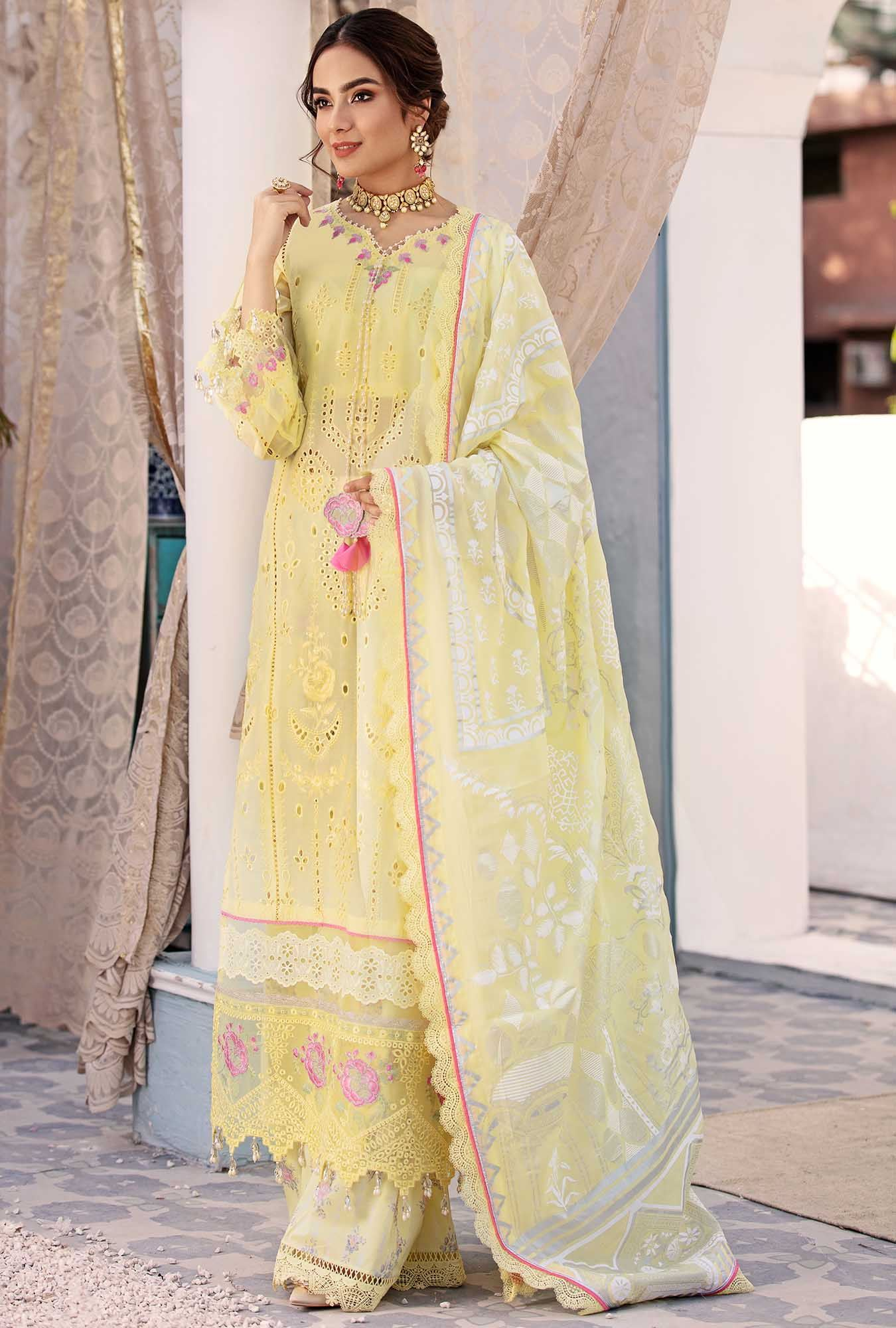pastel yellow chikan kari suit