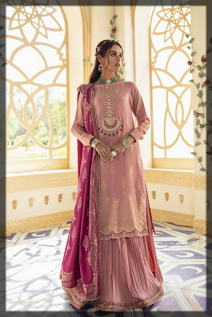 peach embroidered dress for eid