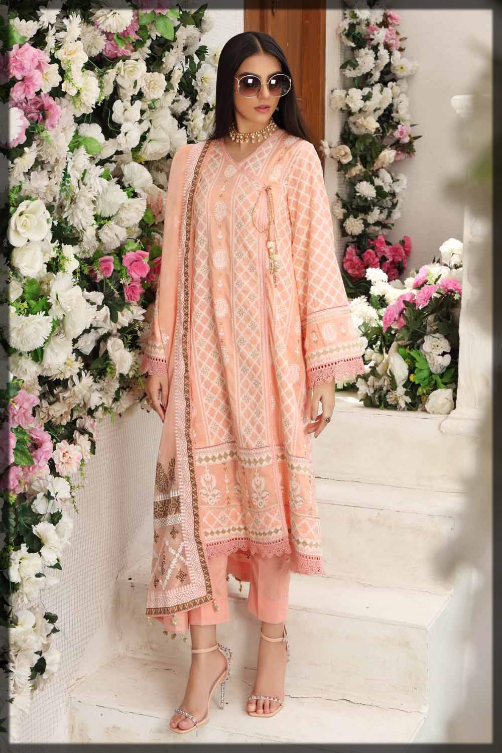 peach embroidered lawn suit