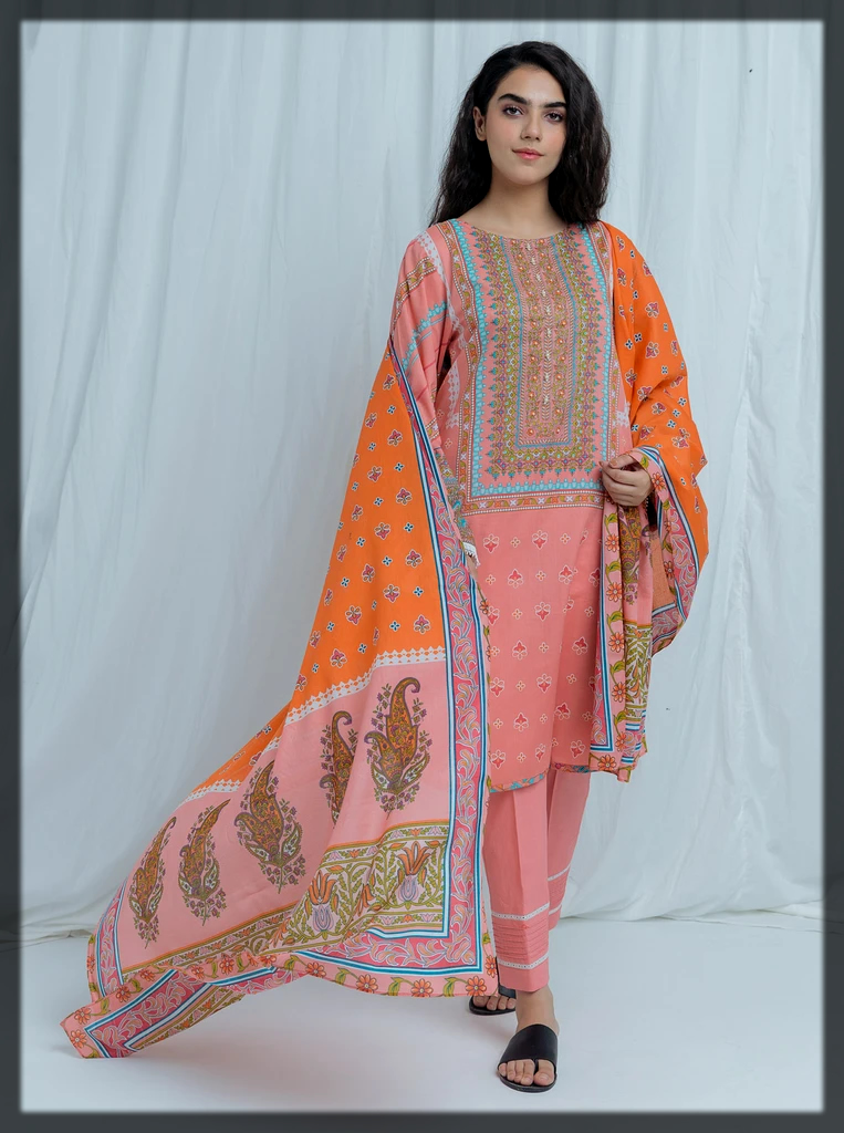 peach shaded summer lawn eid suit