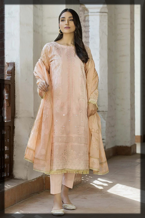 peach shaded summer lawn suit
