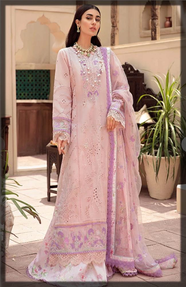 powder pink chikan kari dress
