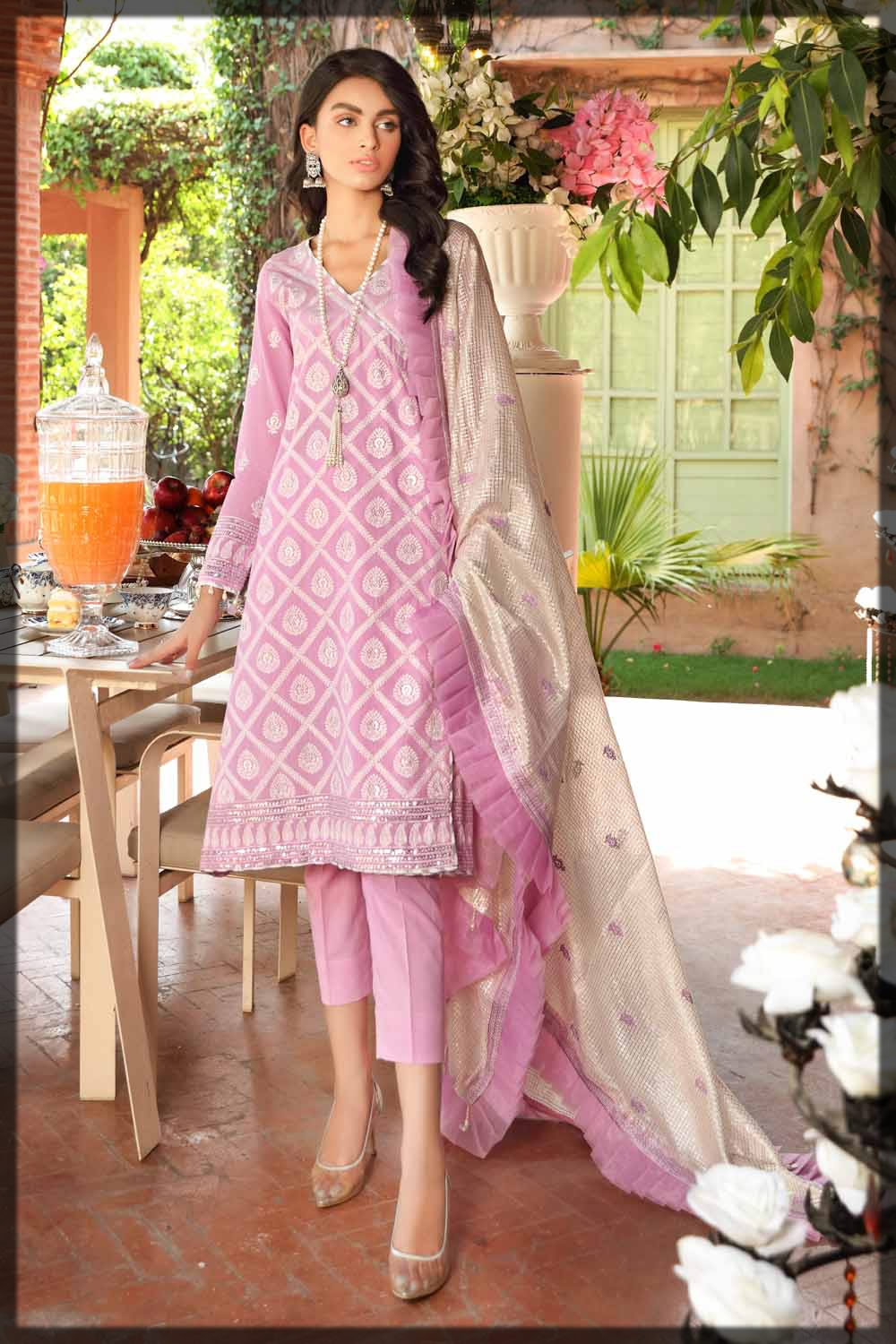 powder pink embroidered lawn suit