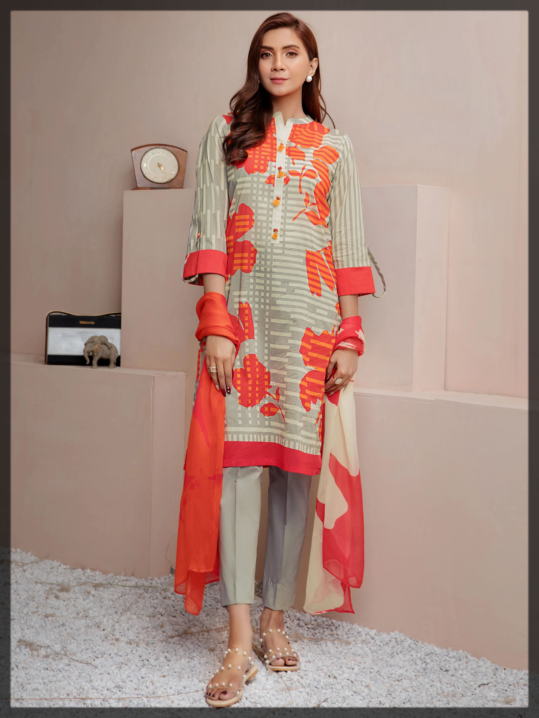 printed orange and beige lawn dress