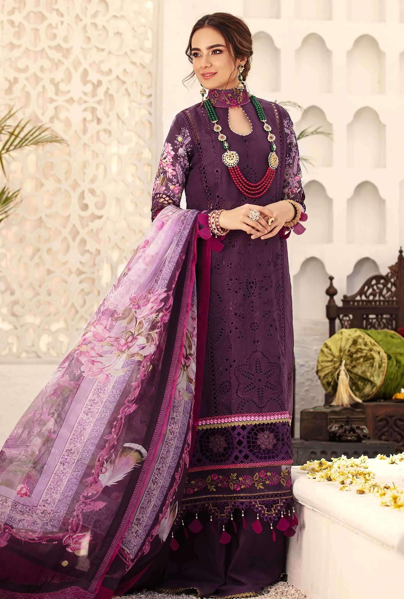 purple chikan kari suit