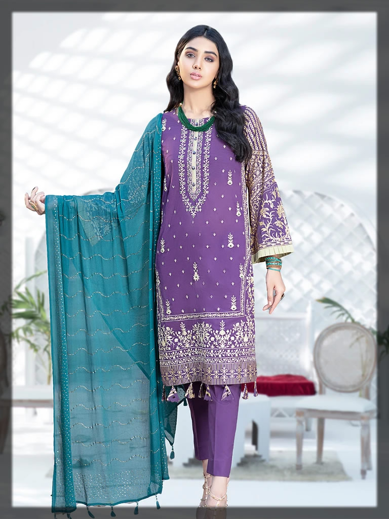 purple embroidered lawn suit