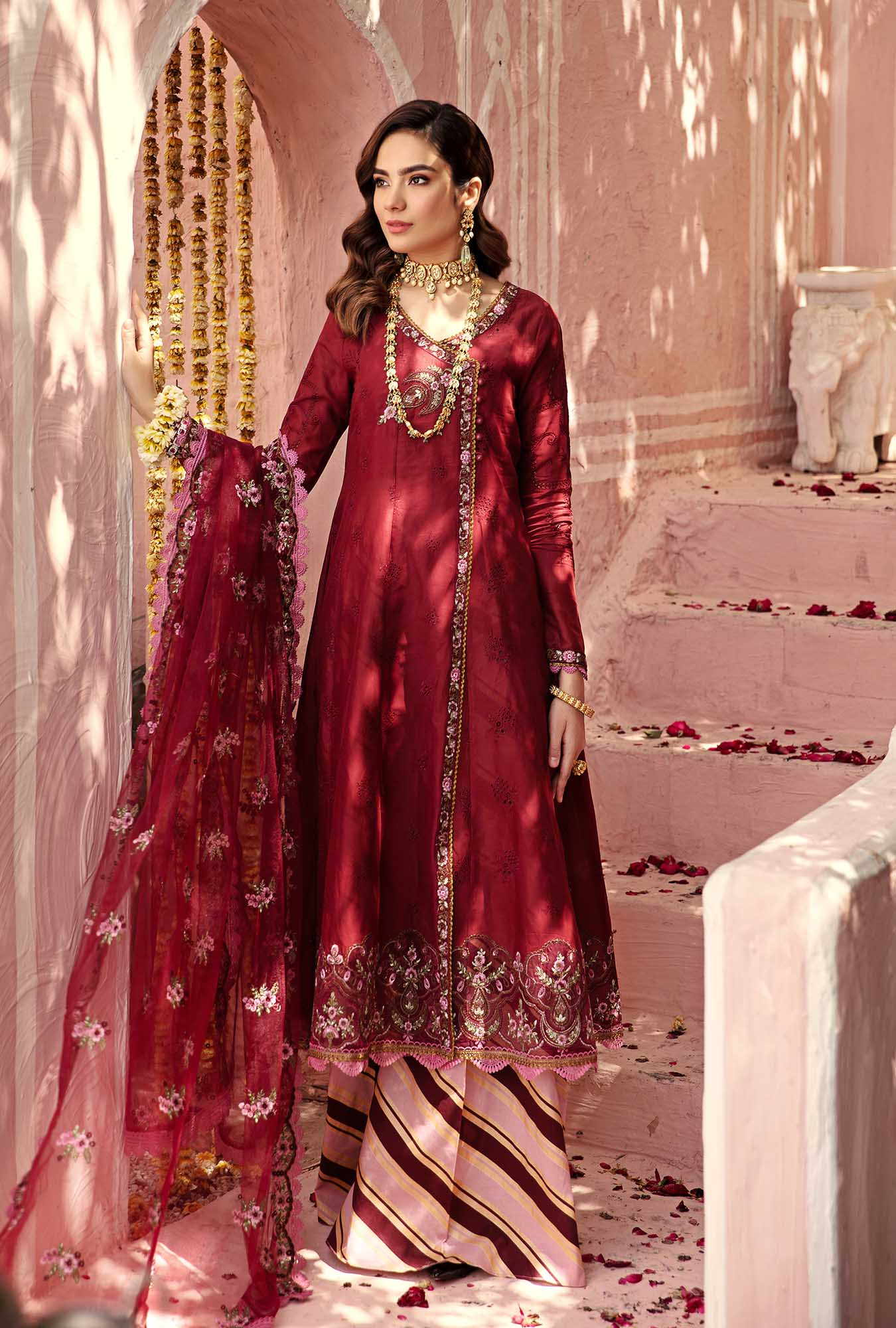 red chikankari suit