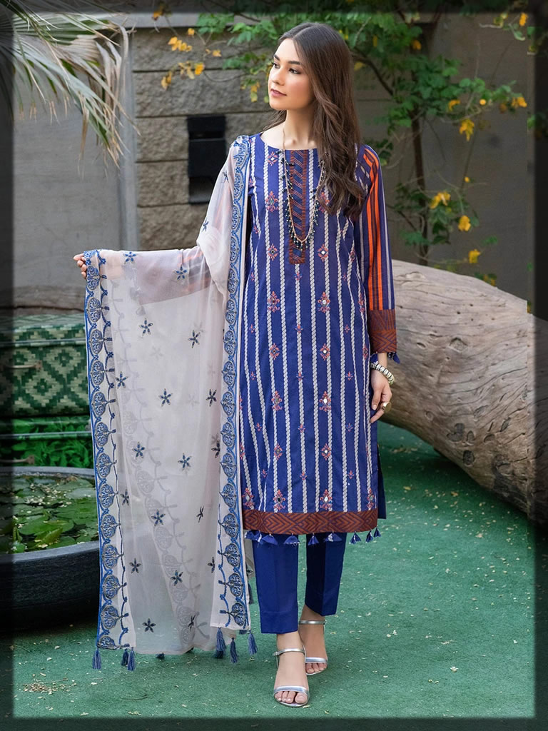 rosy blue embroidered lawn suit