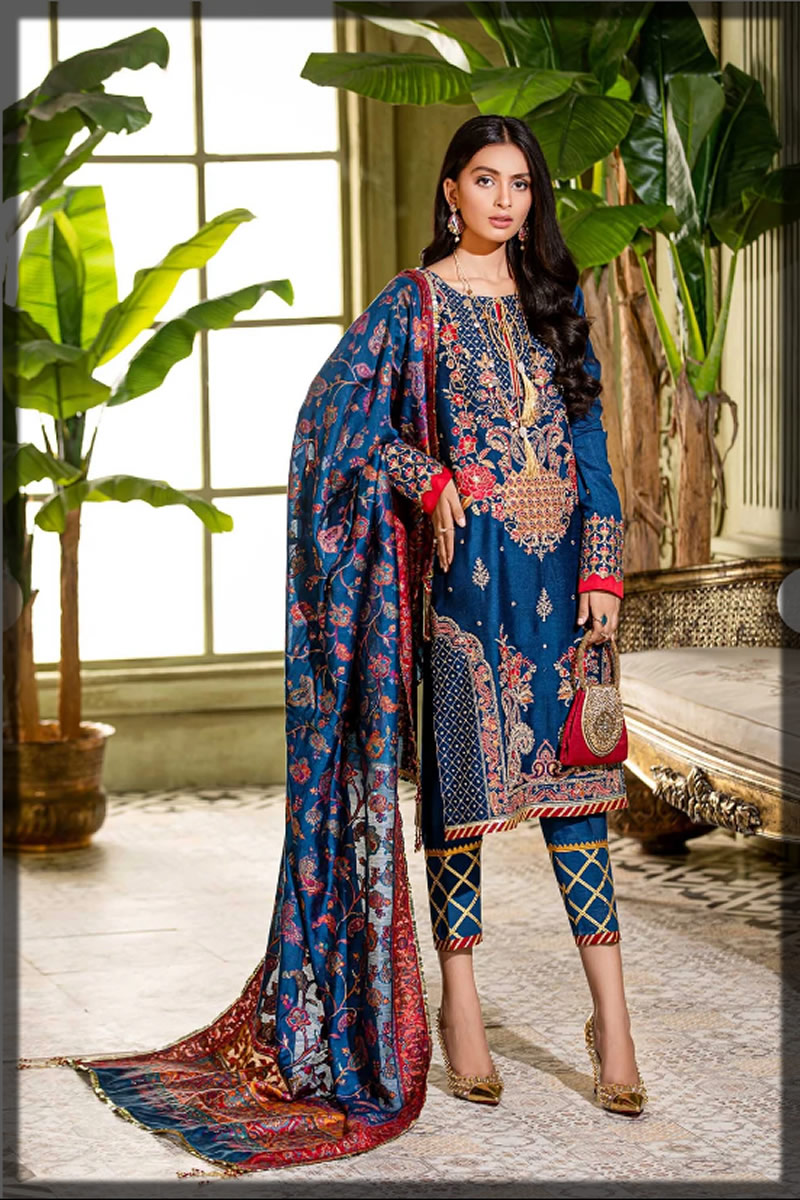 royal blue embroidered cotton silk dress
