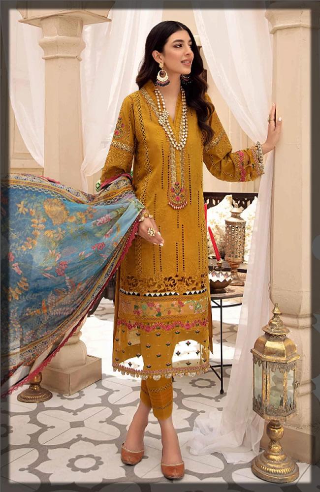 saffron yellow chikan kari dress