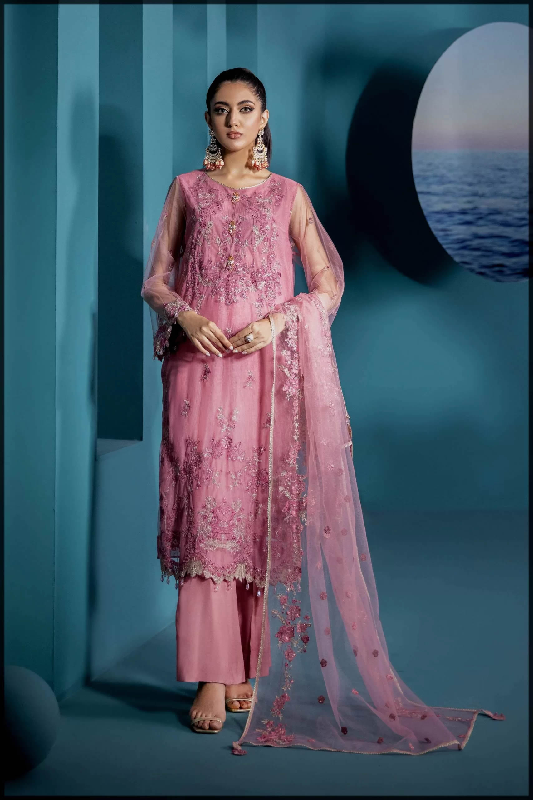 sapphire pink eid dress