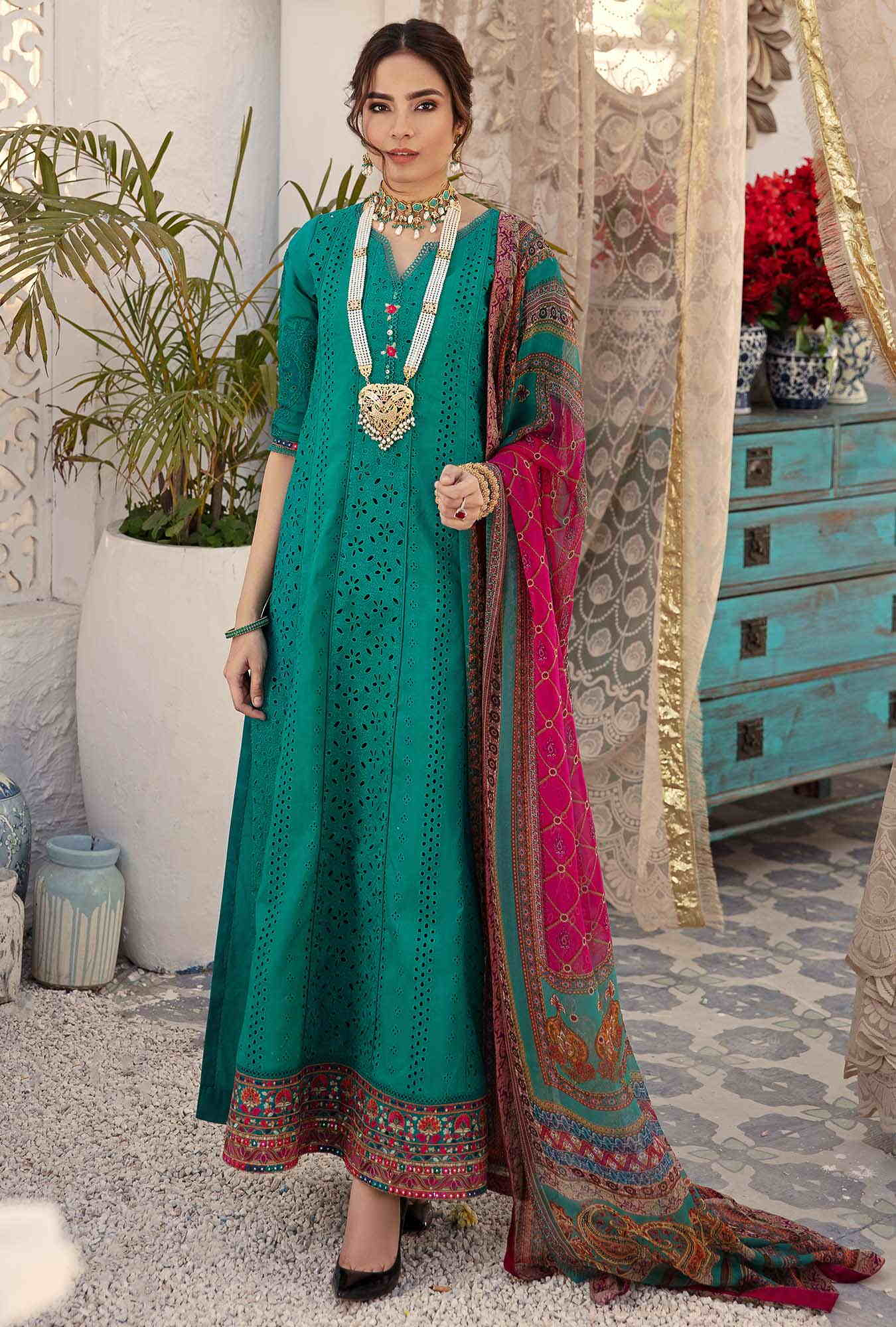 sea green chikan kari suit